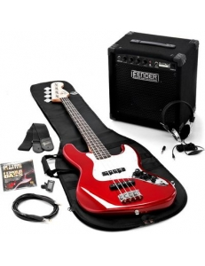 Squier Affinity Jazz Bass & Rumble 15 Amp Metallic Red