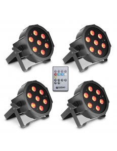 Cameo FLAT PAR CAN TRI 3W IR SET - Set of 4 PAR lights 7 x 3 W High Power TRI colour FLAT LED RGB прожекторы черные с пультом управления