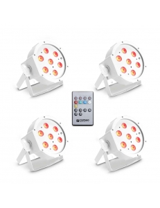 Cameo FLAT PAR CAN TRI 3W IR WH SET - Set of 4 PAR lights 7 x 3 W High Power TRI colour FLAT LED RGB прожекторы белые с пультом управления
