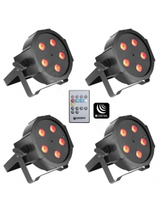 Cameo FLAT PAR CAN TRI 5X3W IR SET - Set of 4 PAR lights 5 x 3 W High Power TRI colour FLAT LED RGB прожекторы в черном цвете с пультом управления